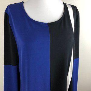 Alfani 3/4 Sleeve Tunic Top Size L Blue Black
